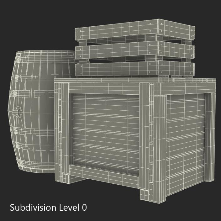 3D Wooden Conteiners Collection model