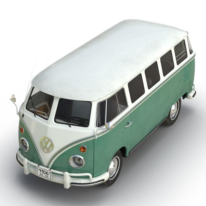 Volkswagen Type 2 Green Simple Interior 3D model