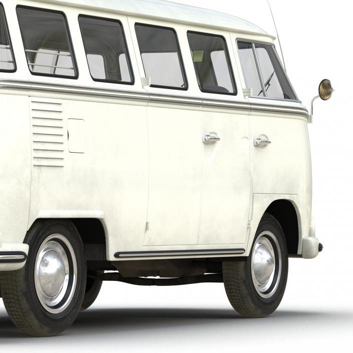 3D model Volkswagen Type 2 White Rigged