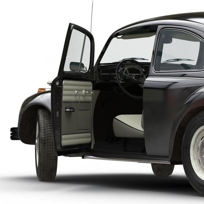 3D model Volkswagen Beetle 1966 Rigged Black