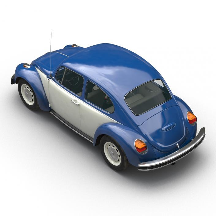 3D model Volkswagen Beetle 1966 Simple Interior Blue 2