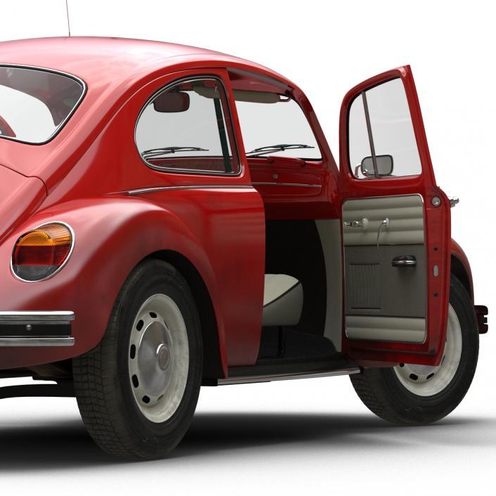 3D Volkswagen Beetle 1966 Rigged Red model