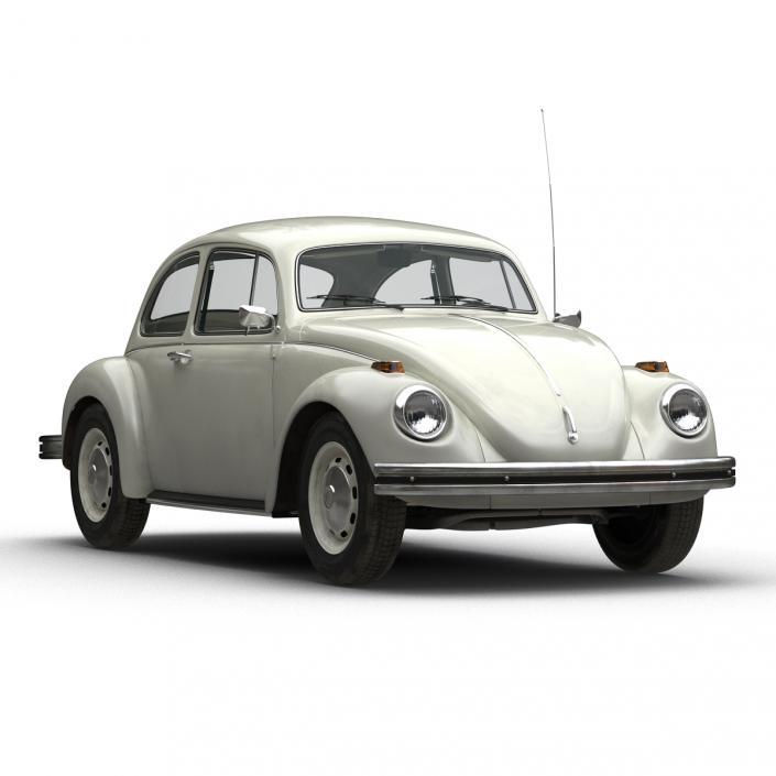 Volkswagen Beetle 1966 Simple Interior White 3D model