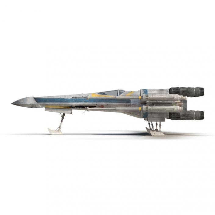 3D model Star Wars X-Wing Starfighter Rigged Blue