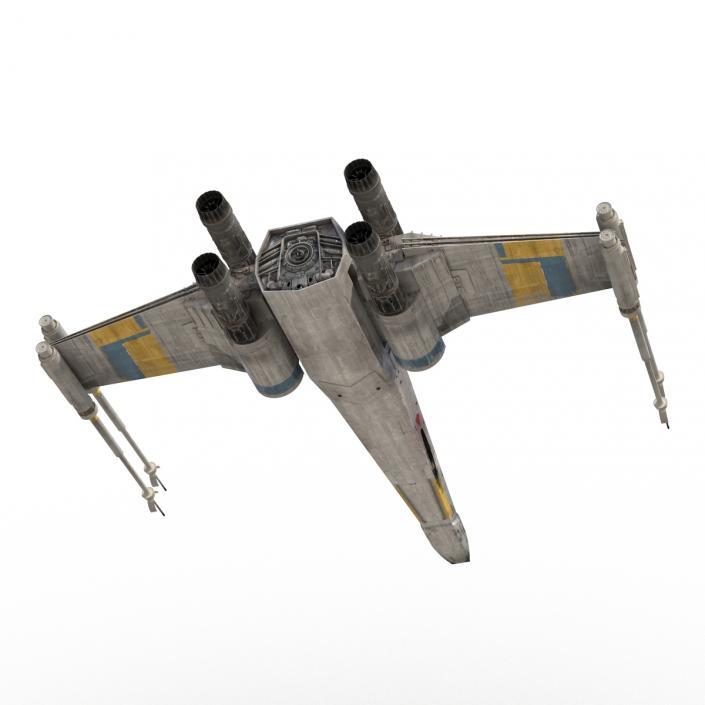 3D model Star Wars X-Wing Starfighter Rigged Blue