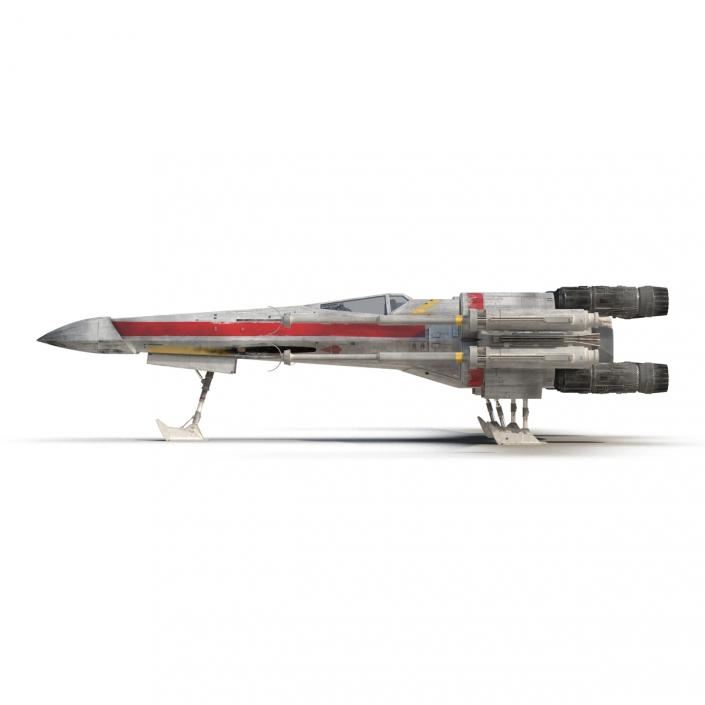 Star Wars X-Wing Starfighter Rigged Red 3D model
