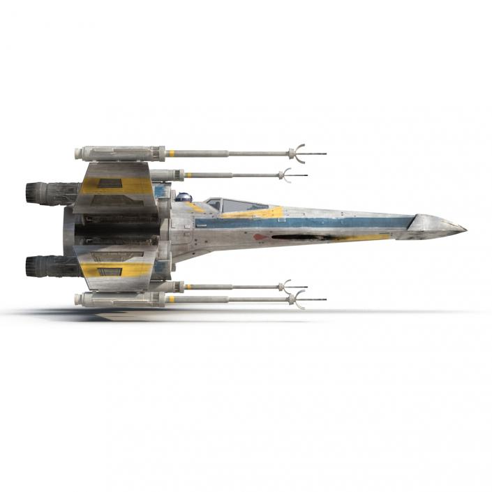 Star Wars X-Wing Starfighter and R2D2 Blue 3D
