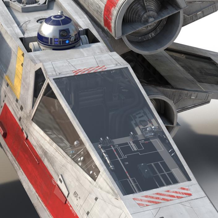 3D Star Wars X-Wing Starfighter and R2D2 Red
