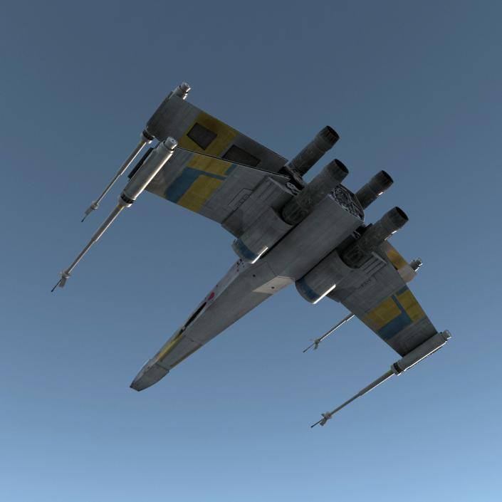 Star Wars X-Wing Starfighter and R2D2 Rigged Blue 3D model