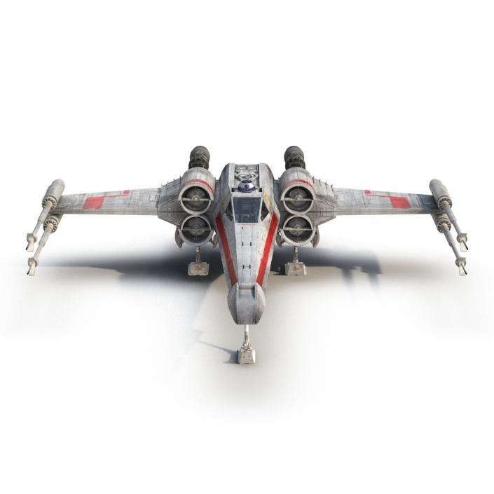 3D Star Wars X-Wing Starfighter and R2D2 Rigged Red model