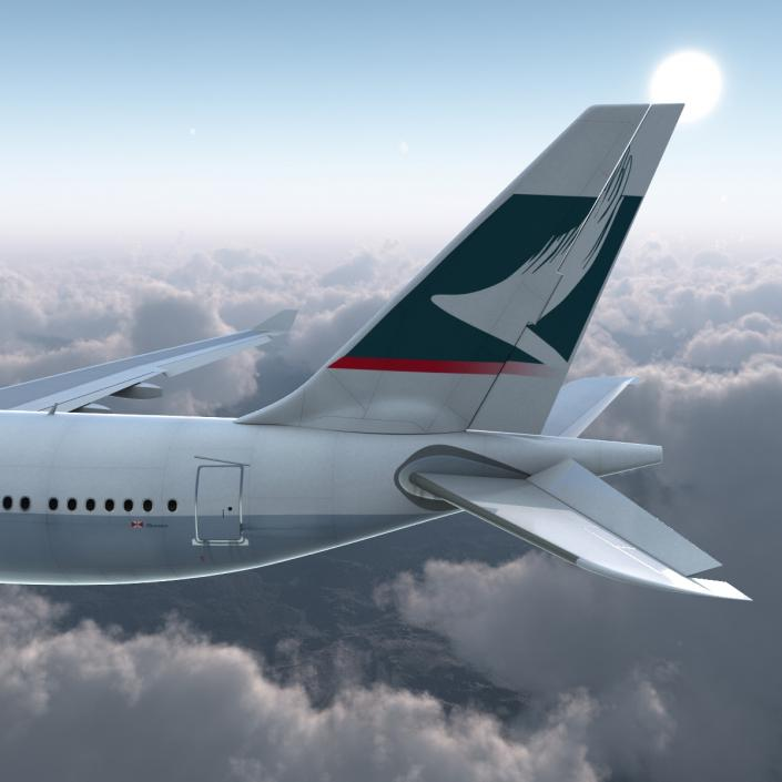 Jet Airliner Airbus A330-200 Cathay Pacfic Rigged 3D model