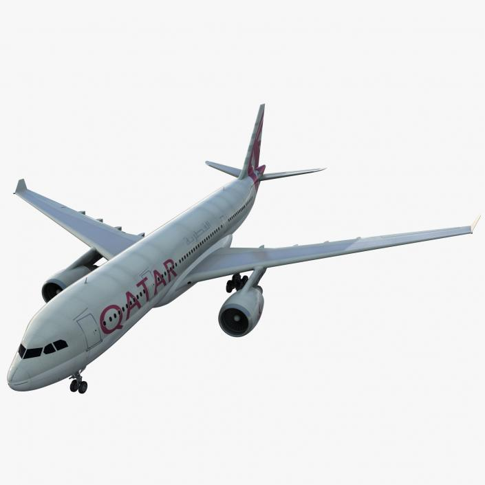 Jet Airliner Airbus A330-200 Qatar 3D model