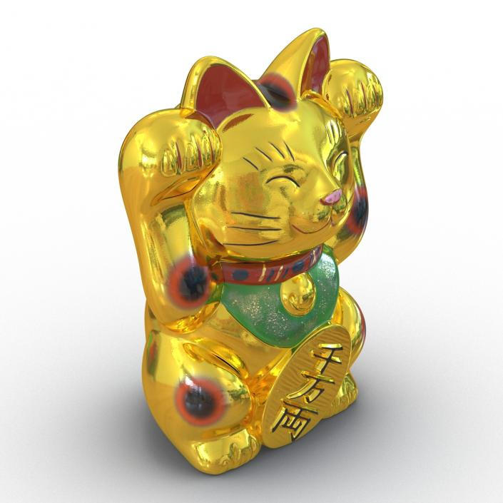 3D Maneki Neko Golden model
