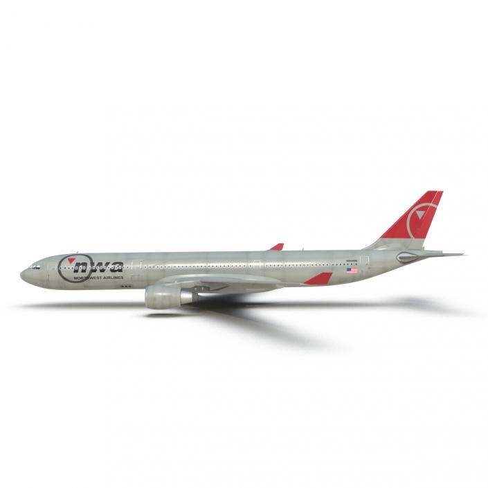 Jet Airliner Airbus A330-300 Northwest Airlines Rigged 3D model