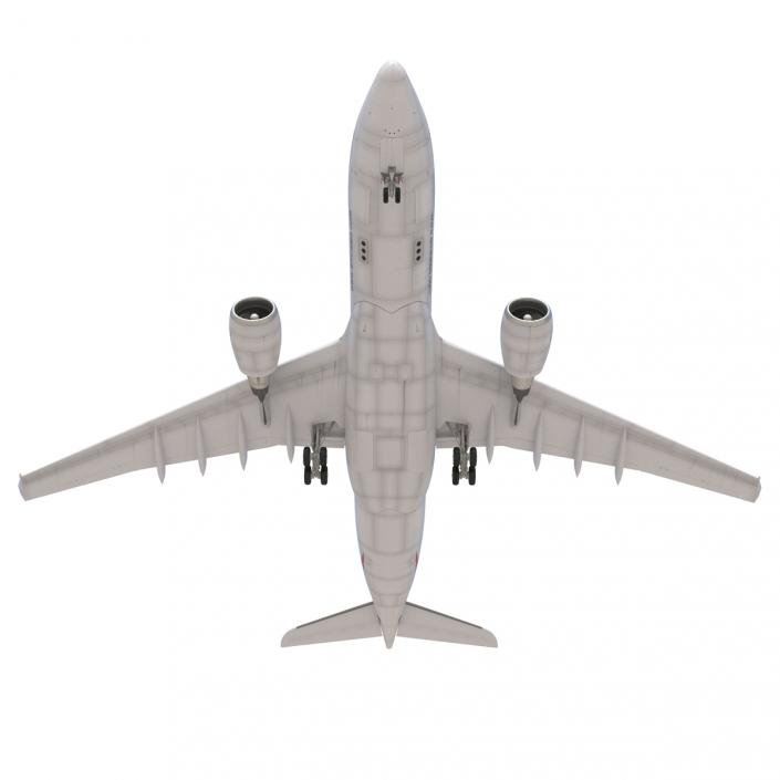 Jet Airliner Airbus A330-200 Emirates Rigged 3D model