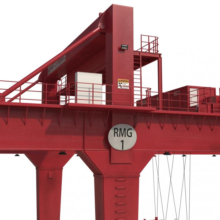 3D Rail Mounted Gantry Container Crane Rigged Red