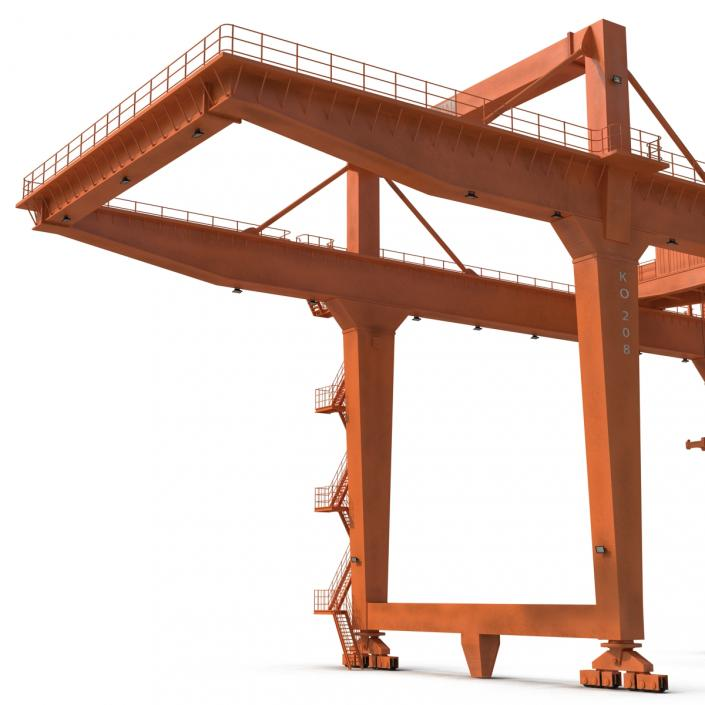 Rail Mounted Gantry Container Crane Rigged Orange 3D model