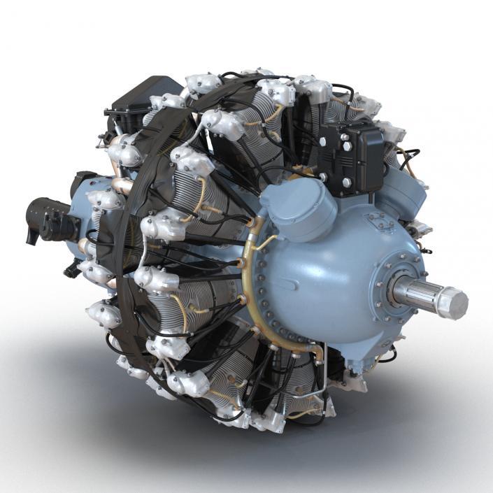 3D Radial Engine Pratt and Whitney R-2800 model