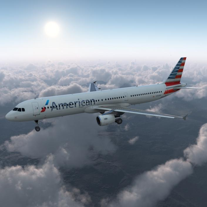 Airbus A321 American Airlines 3D model | 3D Molier International