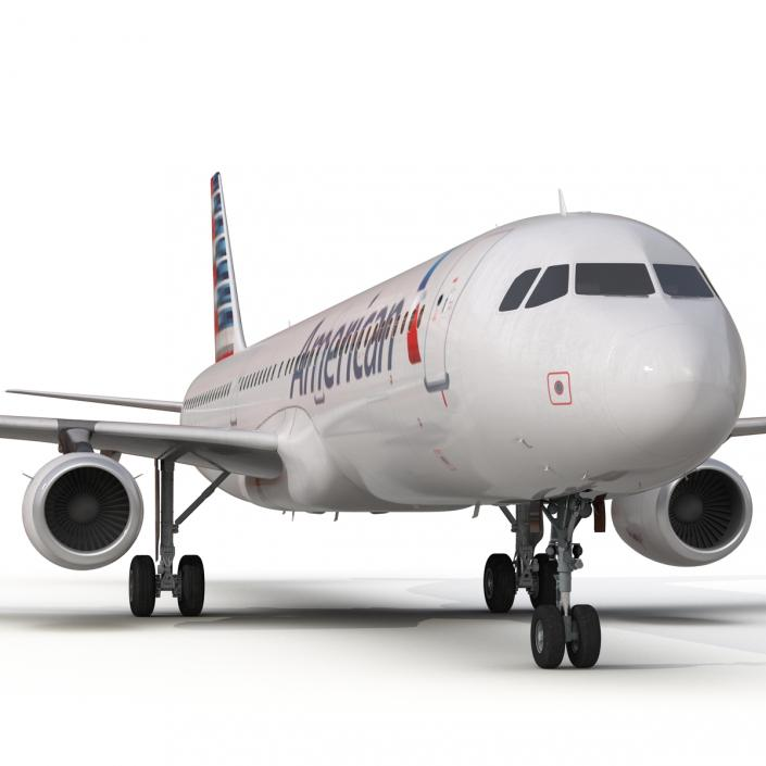 3D Airbus A321 American Airlines Rigged