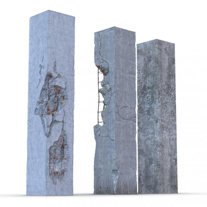 3D model Concrete Pillars Set