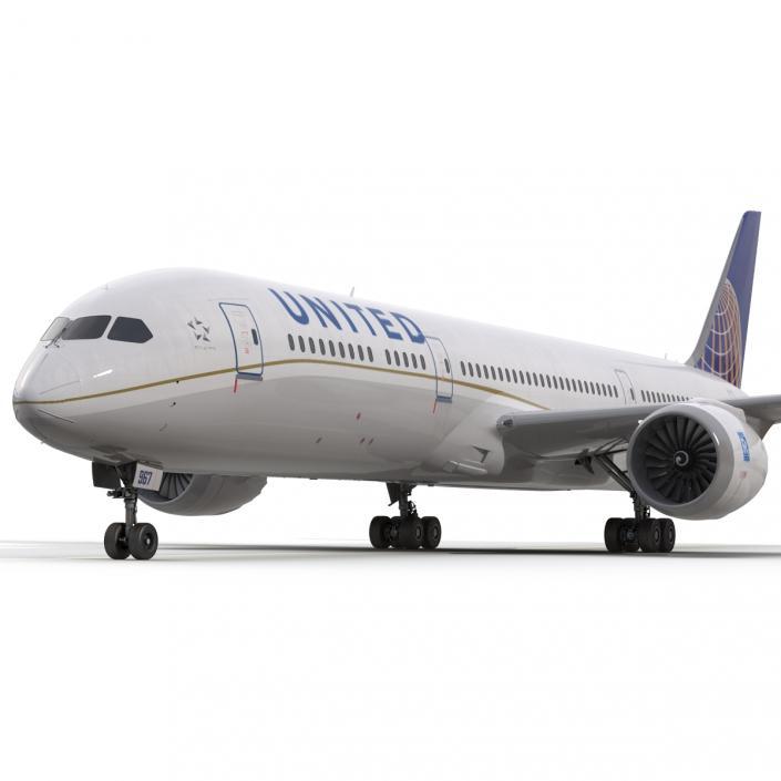 Boeing 787-9 Dreamliner United Rigged 3D