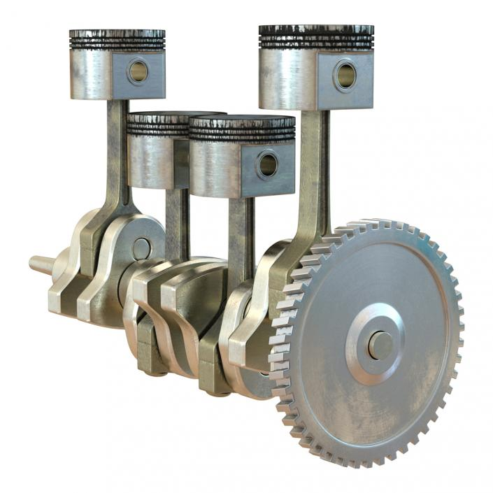 3D Engine Piston and Crankshaft model