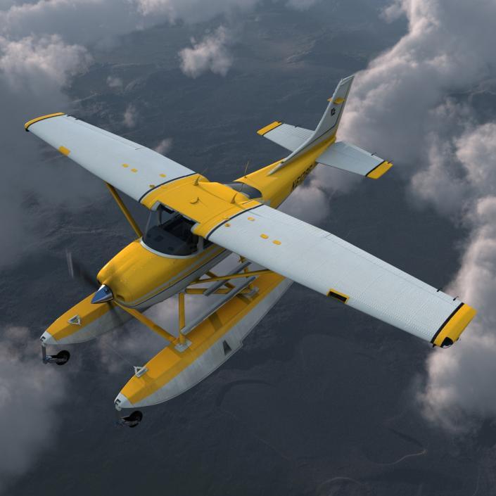 3D model Cessna 182 Skylane on Floats Yellow | 3D Molier