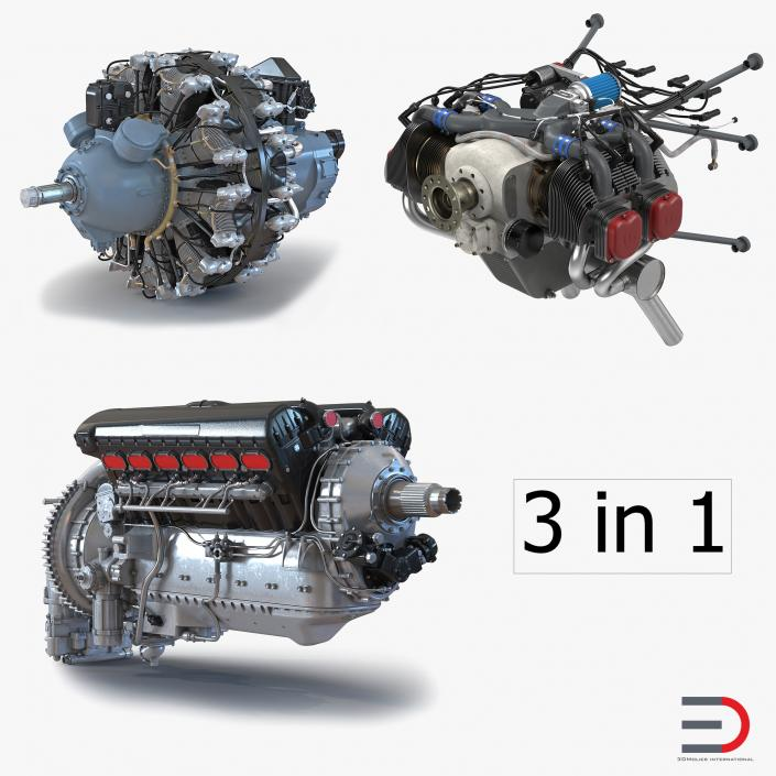 3D Piston Aircraft Engines Collection 2