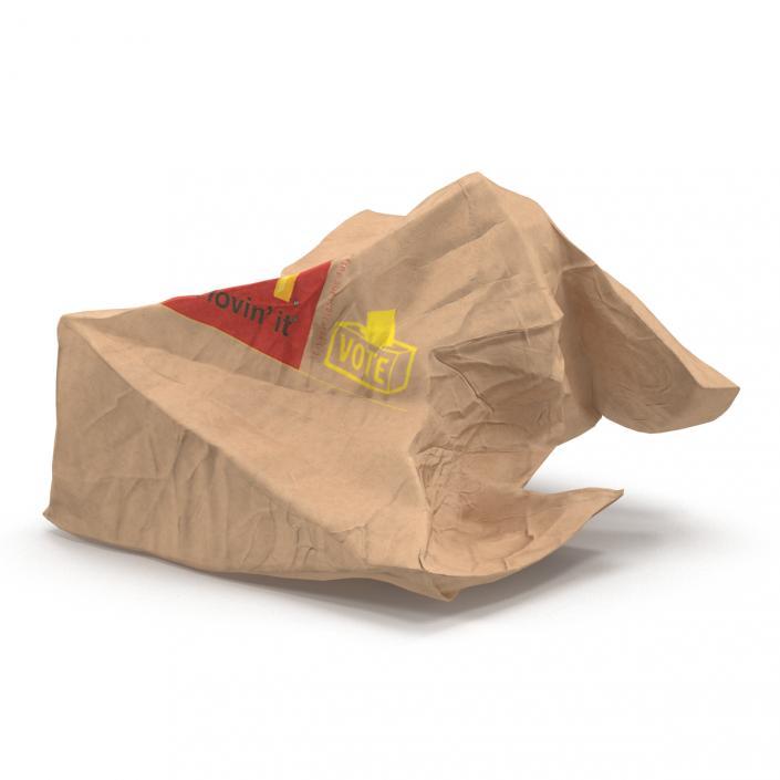 Sensational 3D Model Crumpled Fast Food Paper Bag 2 Mcdonalds 3D Pabps2019 Chair Design Images Pabps2019Com