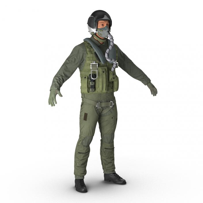 3D US Military Jet Fighter Pilot Rigged