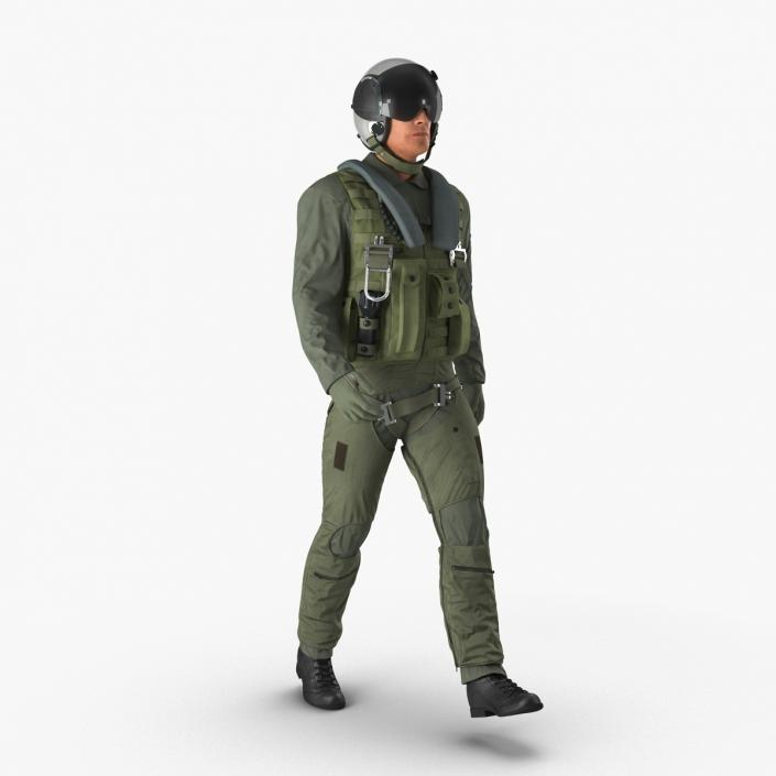 3D Military Jet Fighter Pilot Pose 3 model