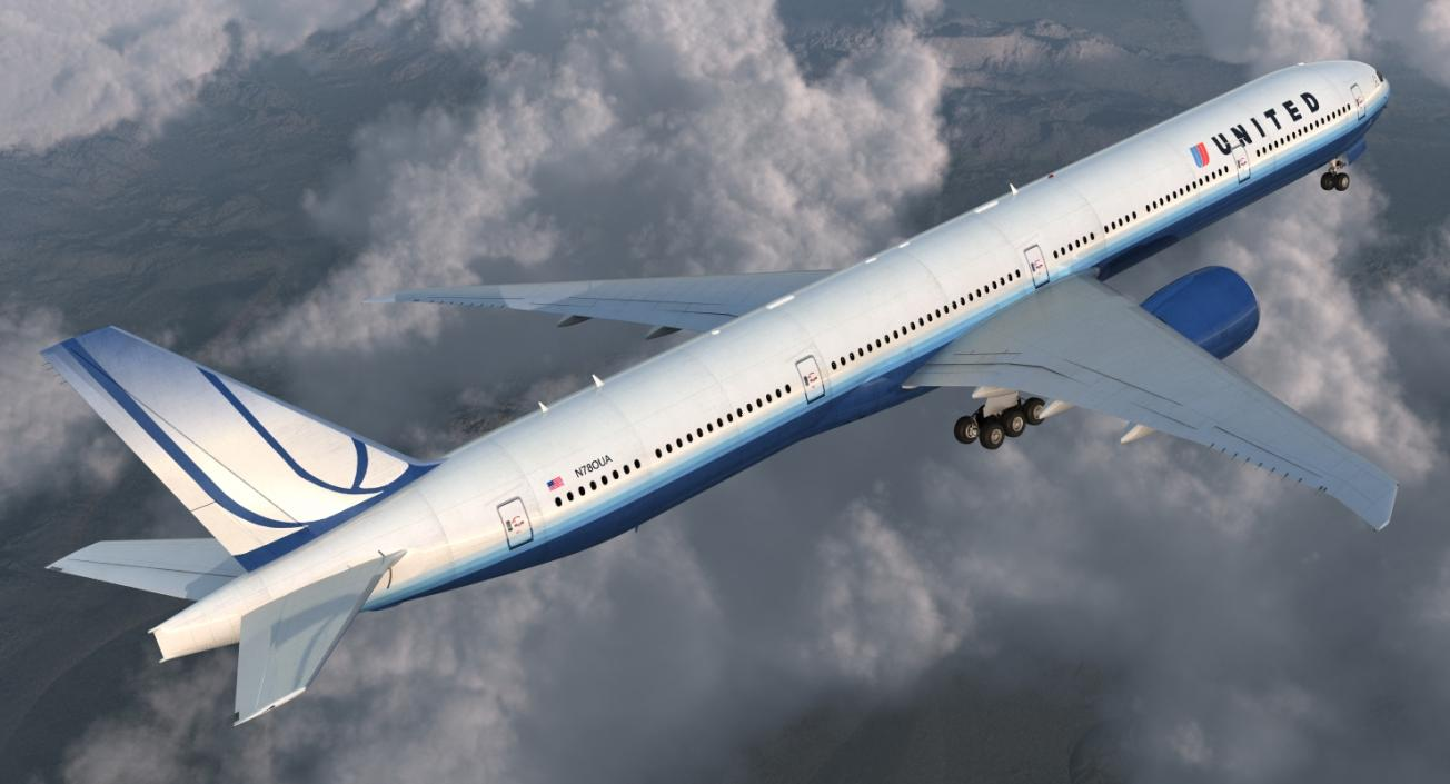Boeing 777-9x United Airlines 3D model | 3D Molier International