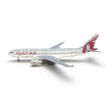 Jet Airliner Airbus A330-200 Qatar. Render 15