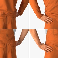 Factory Worker Orange Overalls Standing Pose. Preview 11