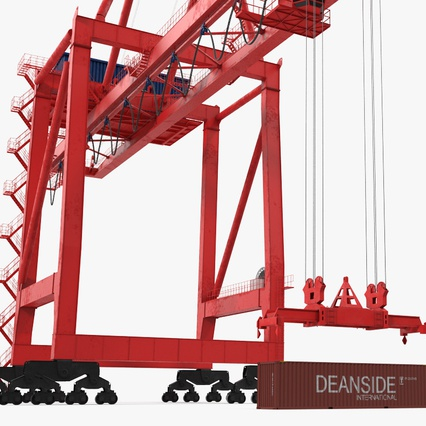 Port Container Crane Red with Container. Render 19