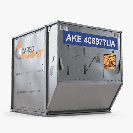 Airport Luggage Trolley Baggage Trailer with Container. Render 13
