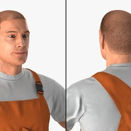 Worker In Orange Overalls Standing Pose. Preview 8