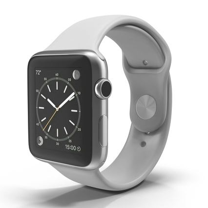 Apple Watch Sport Band White Fluoroelastomer 2. Render 2