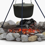 Campfire with Tripod and Cooking Pot. Preview 8