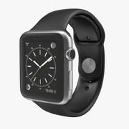 Apple Watch 42mm Sport Band Black Fluoroelastomer 2