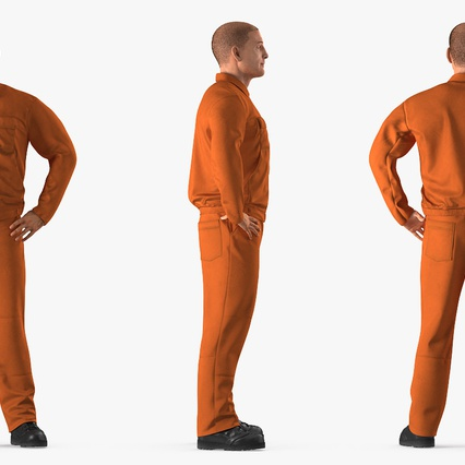 Factory Worker Orange Overalls Standing Pose. Render 5