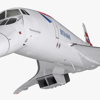 Concorde Supersonic Passenger Jet Airliner British Airways Rigged. Render 11