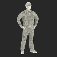 Worker Black Uniform with Hardhat Standing Pose. Preview 4