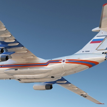 Ilyushin Il-76 Emergency Russian Air Force Rigged. Render 9