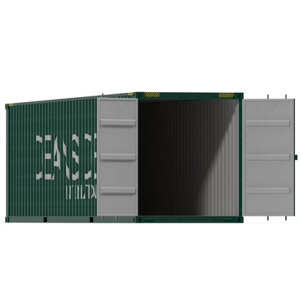 40 ft High Cube Container Green. Render 6