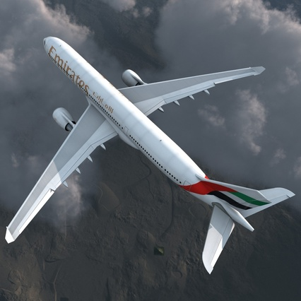 Jet Airliner Airbus A330-300 Emirates Rigged. Render 10
