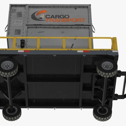 Airport Luggage Trolley Baggage Trailer with Container. Render 24