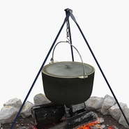 Campfire with Tripod and Cooking Pot. Preview 10