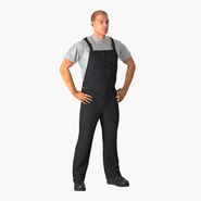 Construction Worker Black Uniform Standing Pose. Preview 3